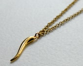 Gold Plated Italian Horn (Cornicello) with Vintage Chain : Lucky Series