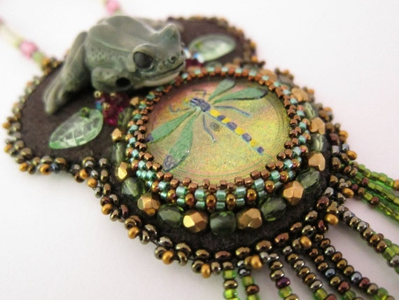 SALE Frog & Dragonfly Pendant Necklace