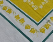 Ivy Border Printed Tablecloth in Lemon Yellow - Leaves and Vines