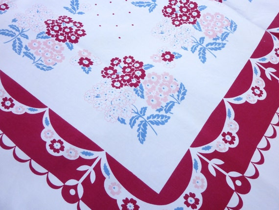 Vintage Printed Tablecloth- Floral by California Hand Prints - Phlox Flowers and Polka Dots in  Burgundy, Blue, and Pink