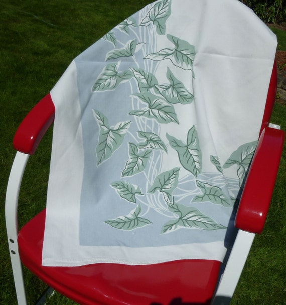 Vintage Printed Tablecloth - Green Leaves and Vines on Ice Blue