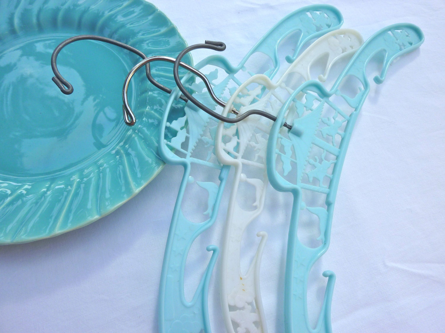 childrens clothes hangers vintage turquoise and white