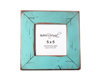 5x5 Cabin Picture Frame - Turquoise - Instagram, Home Decor, Wedding Favors, Wall Decor, Solid Wood, Handmade, Free Shipping