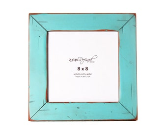 8x8 Cabin picture frame - Turquoise, Free Shipping