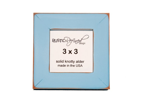 """3x3 1"""" Gallery Picture Frame - Baby Blue - Free Shipping - Solid Wood - Hand Made in USA"""