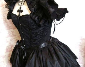 ANGELIQUE Taffetta BURLESQUE  Bustle Skirt  STEAMPUNK Goth Cosplay