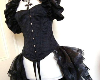 PLUS SIZE Bustle Skirt  and Shrug Set Goth STEAMPUNK  By Gothic Burlesque