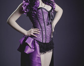 SALOON GIRL   Long Burlesque  Luxe Saloon Bustle STEAMPUNK  Violetta
