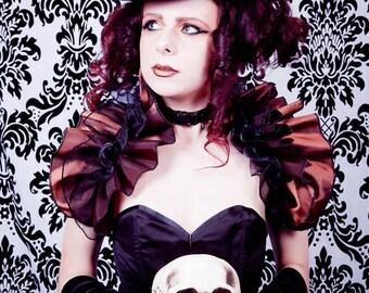 STEAMPUNK DIVA Taffeta Ruffle Opera Shrug Burlesque   By Gothic Burlesque
