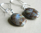 Jasper earrings - genuine jasper gemstone - sterling silver