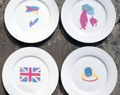 Set of four royal wedding dessert plates CLEARANCE