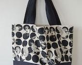 Hand printed linen bag - black & white