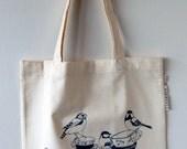 Hand printed canvas tote bag 'tea time'
