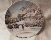 Vintage Currier and Ives Plate of Winter Scene with cottage and man with oxen, dog and wagon