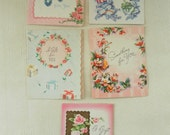 FIVE Vintage 1950s Sweet Flower Images Small Gift cards Pastel Colors Roses Presents
