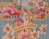Vintage 1950s Sweet Story of Easter Cross Landscape Daffodil Greeting  Card