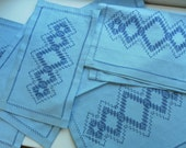 Unusual Vintage embroidered Runner and Mats Robins Egg Blue and Navy  Geometric Pattern Linens