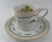 Vintage Pretty  George Briard Victorian Garden pattern  Teacup and Saucer Corn Marigold with green stripes and  with gold trim