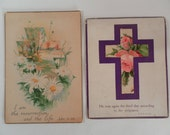 Vintage Sweet  Two Old  Religious Cards Postcards with daisies, roses, purple cross, scriptures