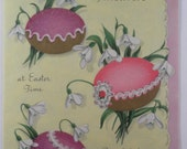 Vintage Darling 1950s Sugar Pink and Purple Eggs with Glitter and white snowdrops on a yellow Easter Card