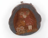 Vintage Velvet Coinpurse with Clasp with Print of Little Girl with bonnet wateringcan in daisy flower garden brown and blue
