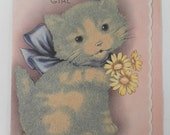 Vintage Adorable Grey and Cream Fuzzy from  1930s with blue bow and yellow flowers Happy Birthday Card