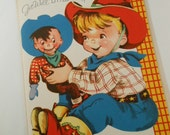 Vintage UNUSED 1950s Cowboy and Puppet  Greeting Card with Envelope