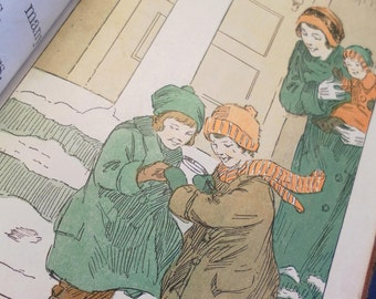 1928 Vintage  Childrens Illustrated Retro Colorful  Book Plates Family Life Story Book