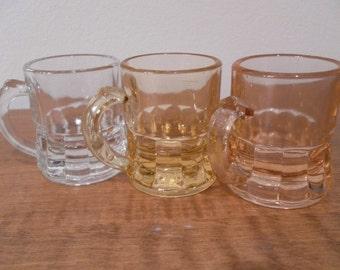 Vintage THREE Federal Glass Minature Beer Mug Shotglasses  set of Three