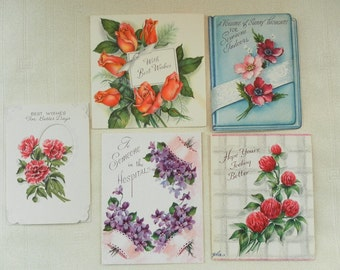 Vintage 1950 FIVE Sweet Flower Images Greeting cards violets roses dogwood carnations