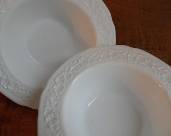 Vintage White Milk Glass Floral Detail Two Small Bowls