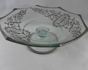 Vintage Footed Pale Green Glass Dish with silver urn with swirl floral four leaf clover scroll trim