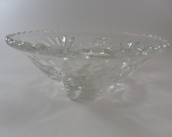 Vintage Footed Pressed Glass Dish with flower pattern and ruffled edge