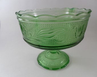 Vintage Footed Pale Green Glass Dish with dots and flower detail and scallop edge