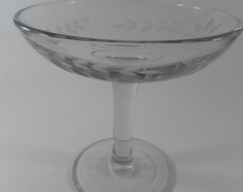 Vintage Sweet Footed Clear Floral Etched Glass Dish Bowl with high pedestal base