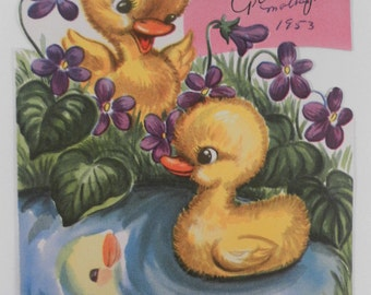 Vintage Sweet 1950s Cute yellow ducklings in pond  with violets set of two Easter cards