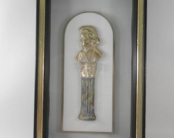 Vintage Kitsch Turner Shadowbox with Golden  Composer on column Wall Decor