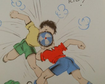 Vintage UNUSED 1940 Two Boys Fighting in red blue yellow and green clothes Greeting Card
