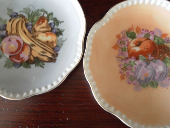 Vintage TWO Gold Edged and Fluted Trimmed Romantic fruit images  Plate Dish or Wall Decor