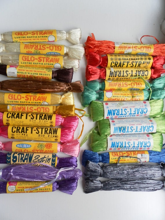 Vintage  Lustre Viscose Raffai Craft Straw Lot of 24 for knitting,weaving,crocheting,embroidery