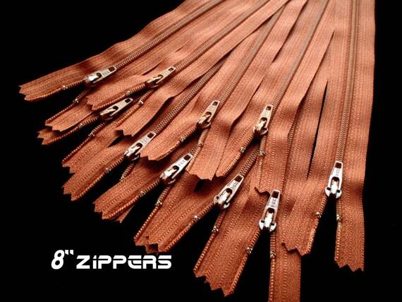 """Ten Pack of 8"""" YKK Zippers - Cinnamon"""