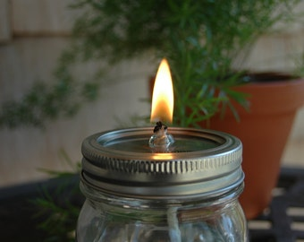 Jar lid with glass wick insert and wick to convert Mason jar into an oil candle