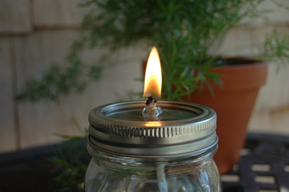 Jar Lid With Glass Wick Insert And Wick To Convert Mason Jar