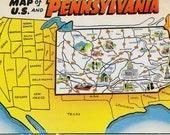 Vintage Postcards - State Map Postcard - Pennsylvania Postcard
