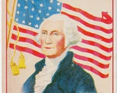 George Washington Vintage Postcard - American Flag - 4th of July