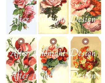 Tags No 22 Pink and Red Flowers Vintage Birthday Greetings Shipping Tags