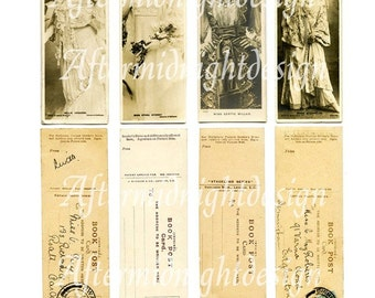 Bookmark No 1 Vintage style bookmarks with portraits, stamps and text