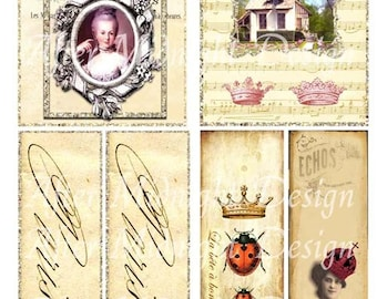TAG No 33 Vintage French Style Marie Antoinette Paris Crown Ladybird