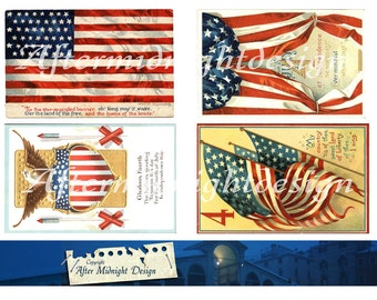 SALE  POSTCARD 4th of July No 1 Patriotic Memorial for Tags Cards Postcards Scrapbooking ATC