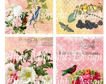 POSTCARD Flowers No 6 for Cards, Tags, Journaling, Scrapbooks, ATC, ACEO